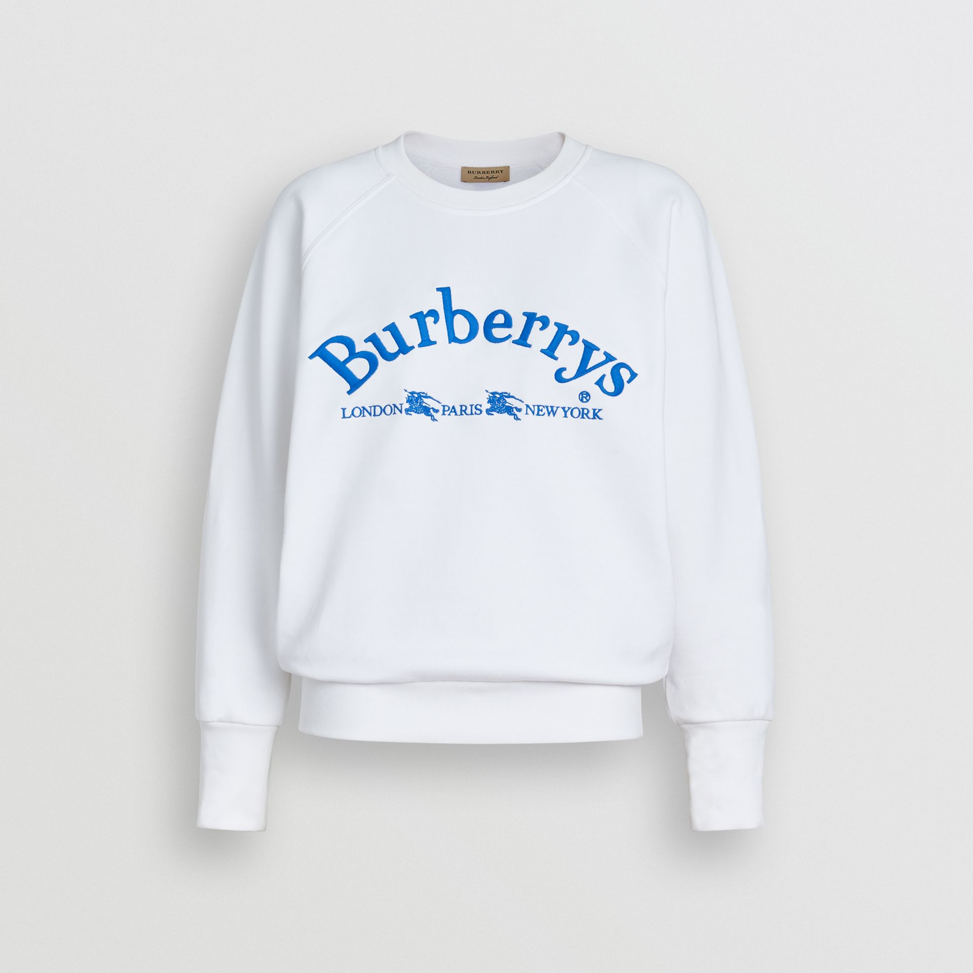 Embroidered Archive Logo Jersey Sweatshirt in White - Women | Burberry United States - gallery image 3