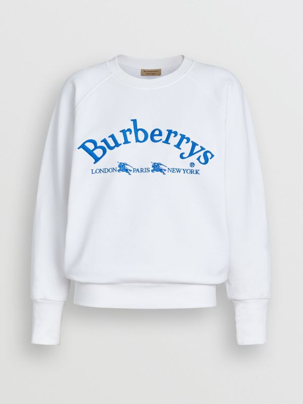 Embroidered Archive Logo Jersey Sweatshirt in White - Women | Burberry United Kingdom - cell image 3