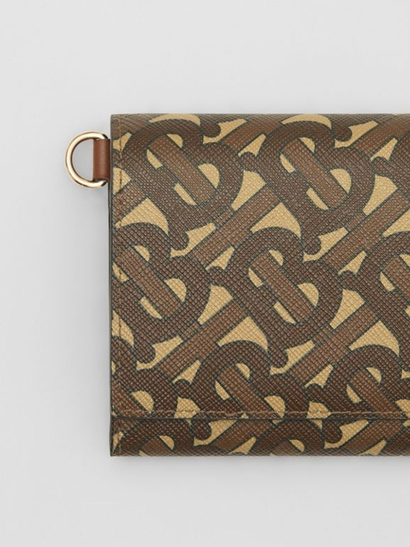 Small Monogram Print Wallet with Detachable Strap in Bridle Brown | Burberry - cell image 1