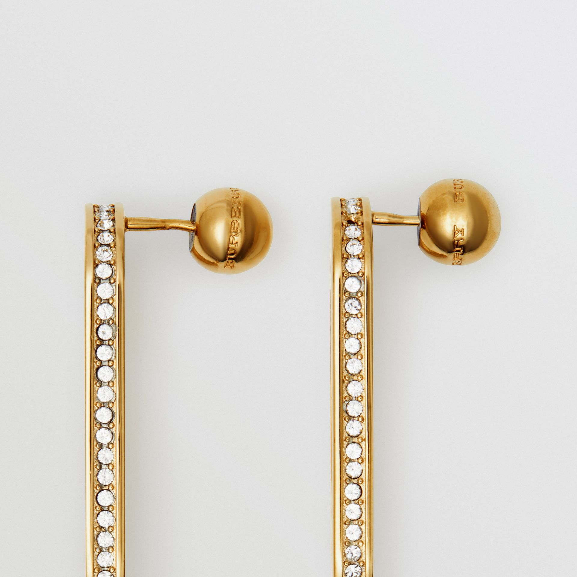 Crystal Gold-plated Link Earrings in Light Gold/crystal - Women | Burberry - gallery image 1