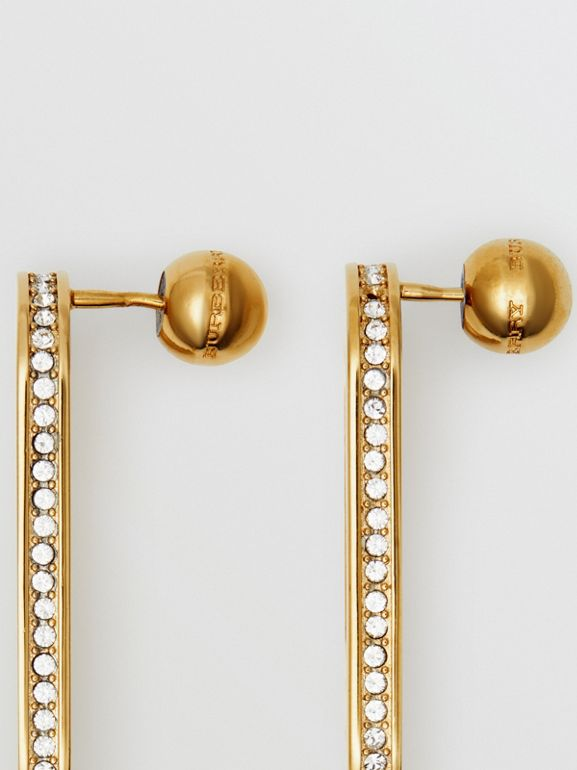 Crystal Gold-plated Link Earrings in Light Gold/crystal - Women | Burberry - cell image 1