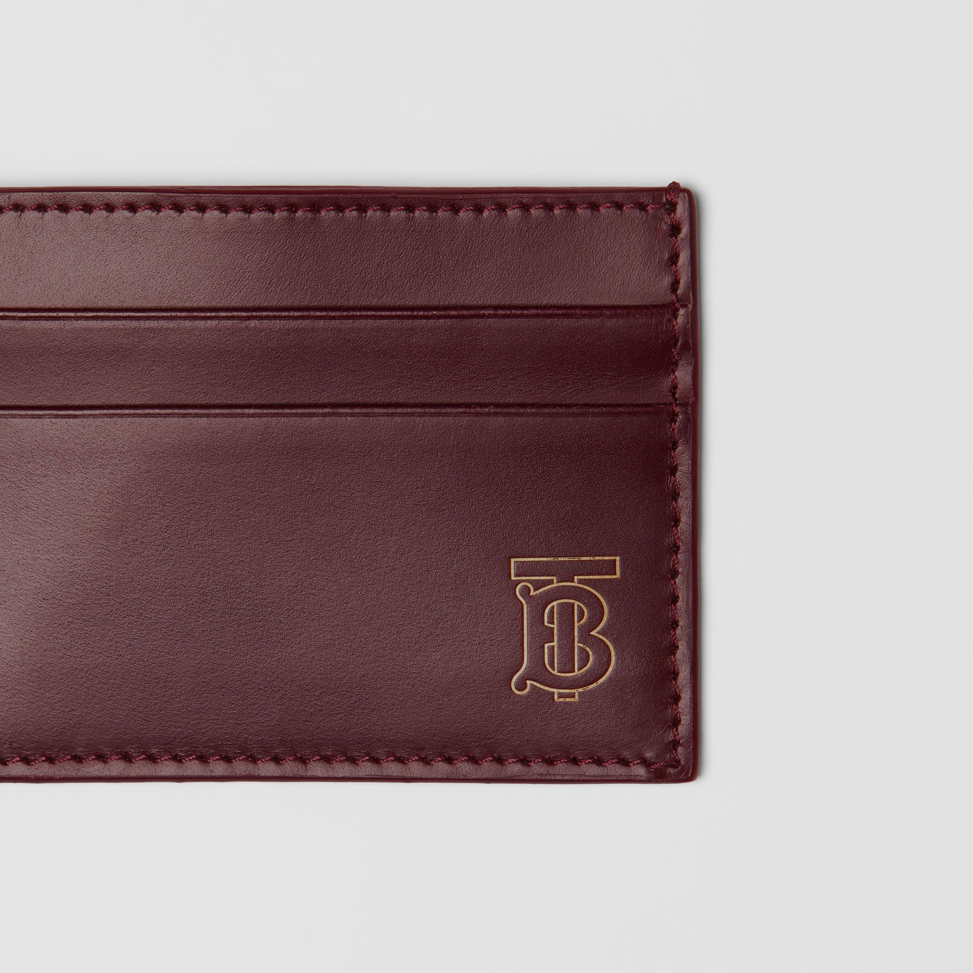 Monogram Motif Leather Card Case in Oxblood - Men | Burberry - gallery image 1