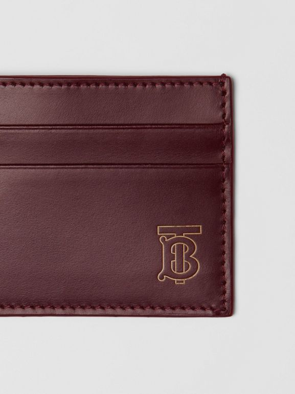 Monogram Motif Leather Card Case in Oxblood | Burberry - cell image 1