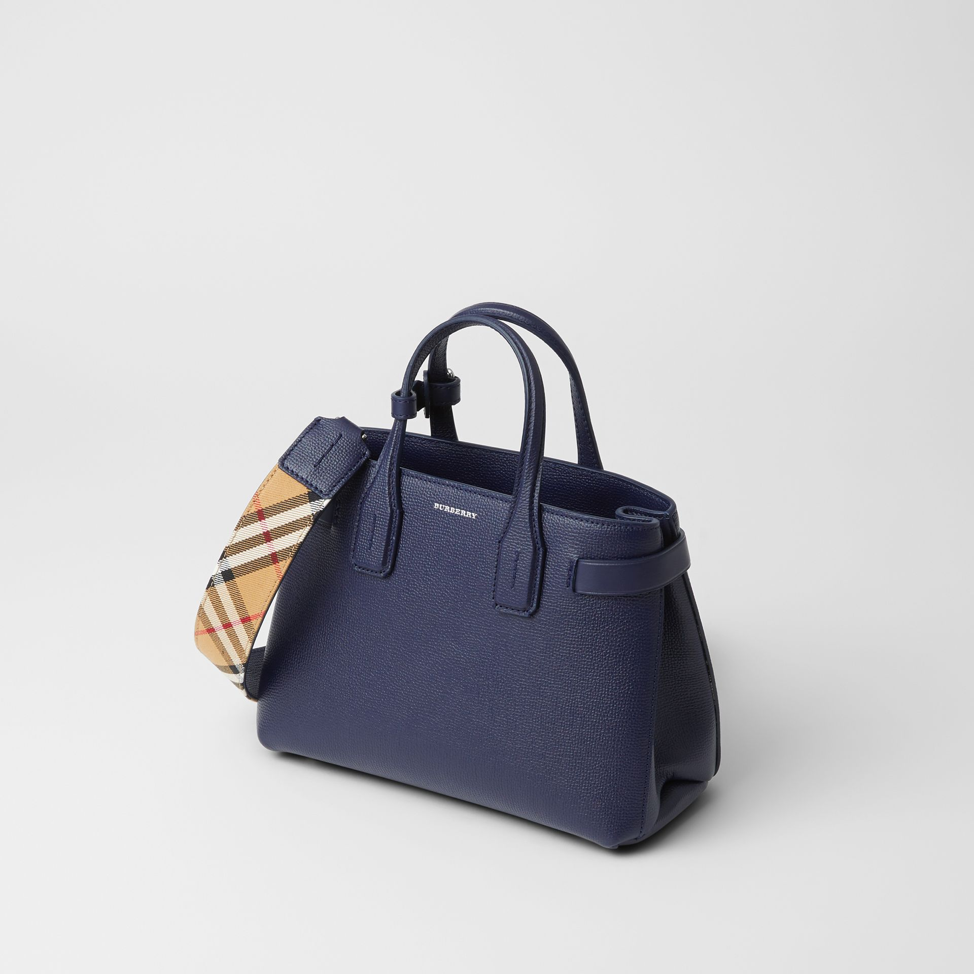 The Small Banner in Leather and Vintage Check in Regency Blue - Women | Burberry Singapore - gallery image 6