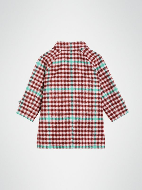 Check Wool Car Coat in Garnet Pink - Children | Burberry - cell image 3