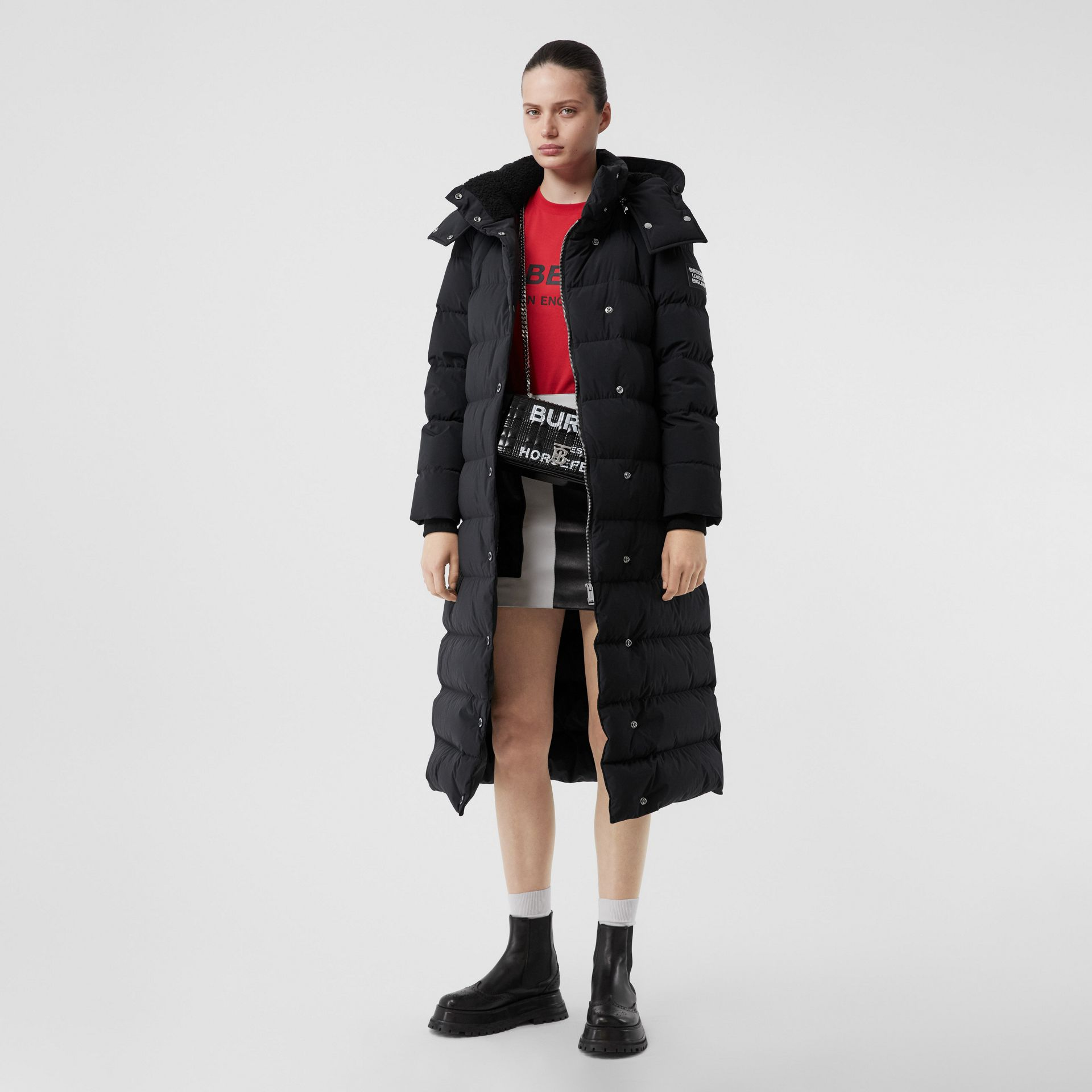 Detachable Hood Belted Puffer Coat in Black - Women | Burberry United Kingdom - gallery image 6