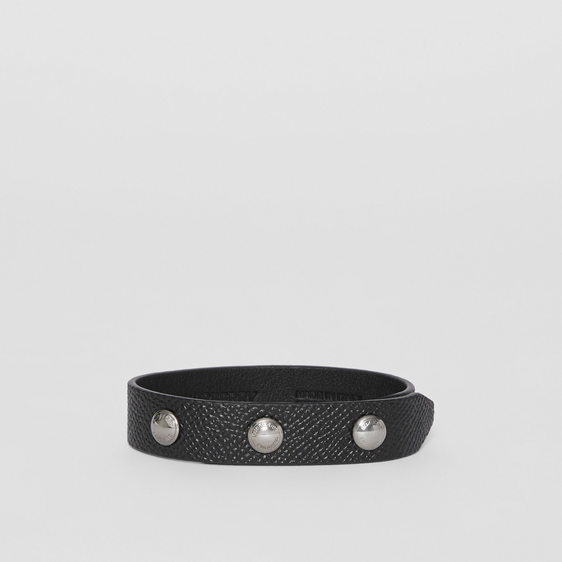 Triple Stud Grainy Leather Bracelet in Black - Men | Burberry - gallery image 0