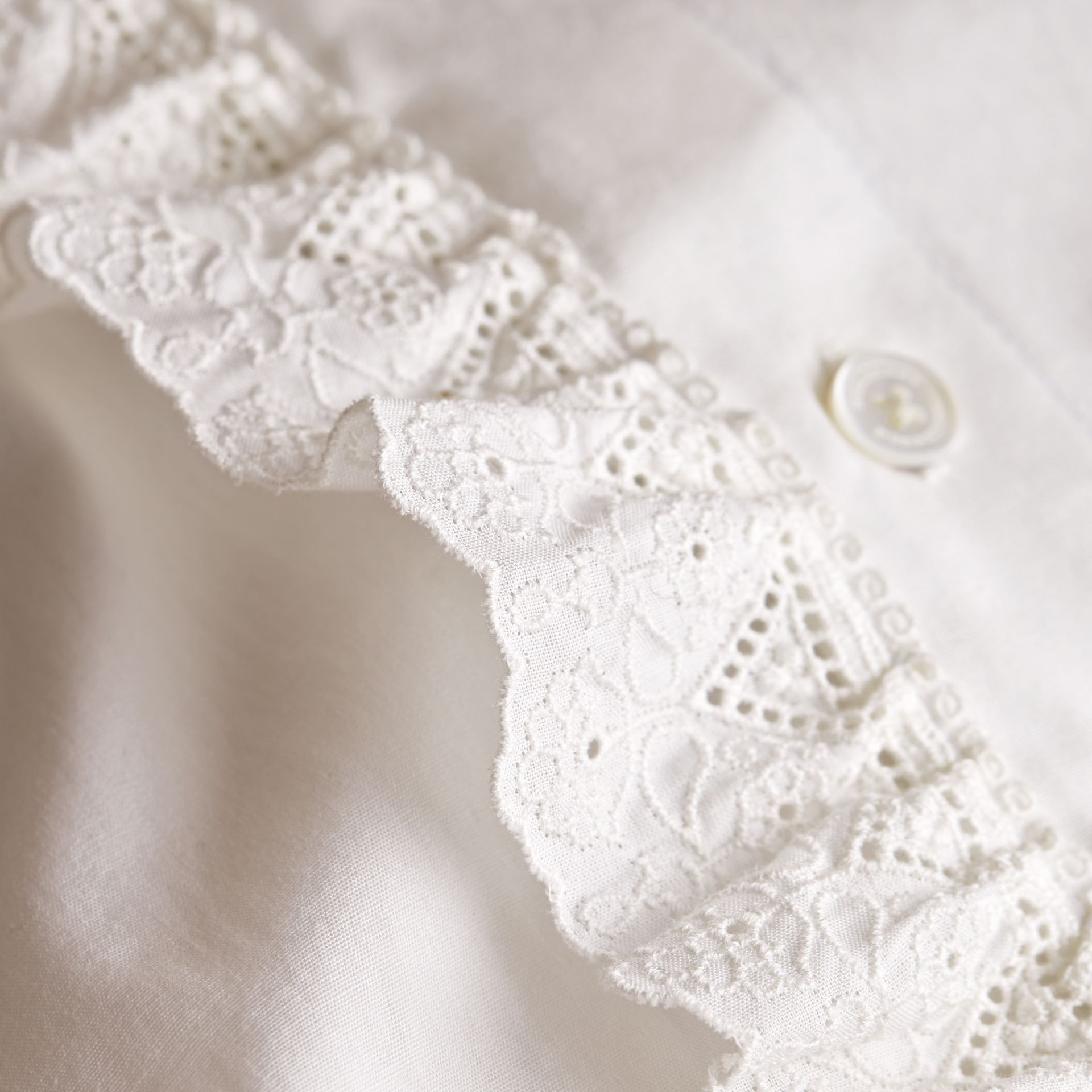 Broderie Anglaise Ruffle Cotton Poplin Shirt in White - Girl | Burberry - gallery image 2