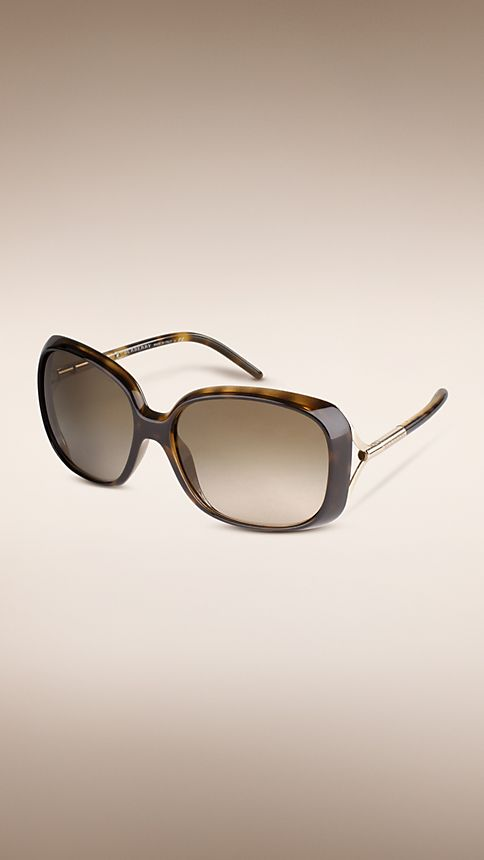 Tortoise shell Trench Collection Oversize Square Frame Sunglasses - Image 1