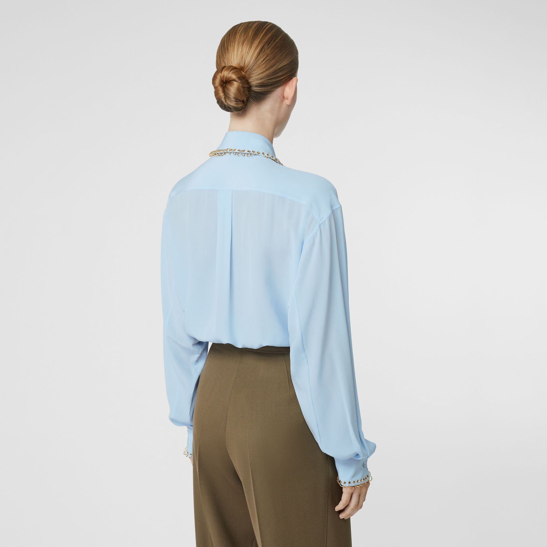 Ring-pierced Silk Crepe Shirt in Pale Blue - Women | Burberry - gallery image 2
