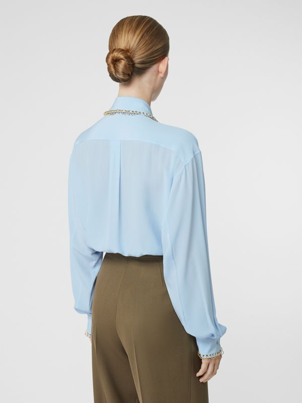 Ring-pierced Silk Crepe Shirt in Pale Blue - Women | Burberry - cell image 2