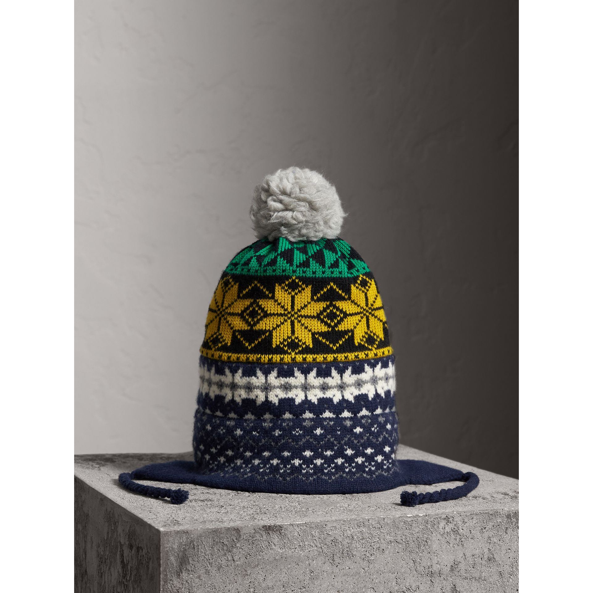 Pom-pom Fair Isle Wool Cashmere Beanie in Bright Yellow | Burberry Australia - gallery image 0
