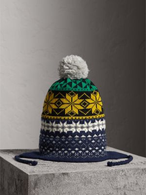 Fair Isle Wool Cashmere Cotton Fingerless Gloves in Bright Yellow ...