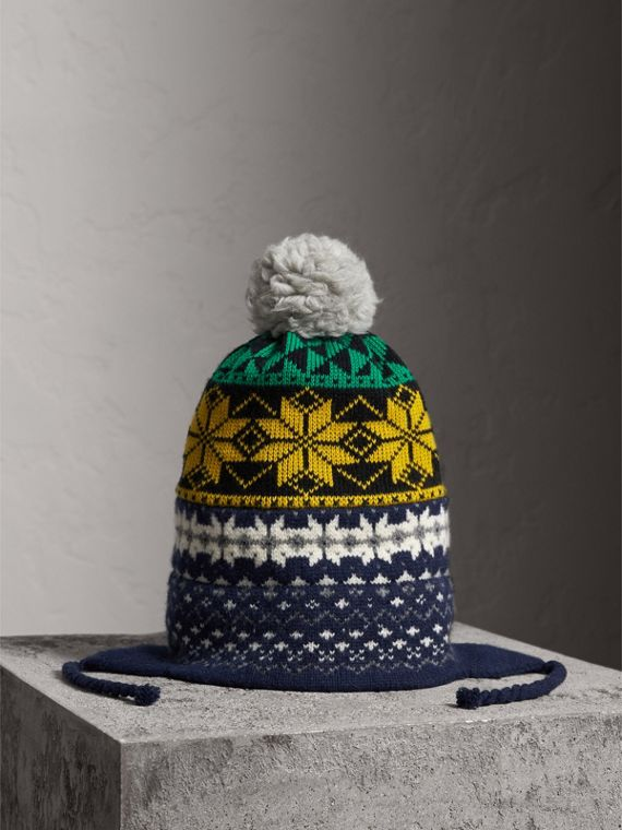 Pom-pom Fair Isle Wool Cashmere Beanie in Bright Yellow