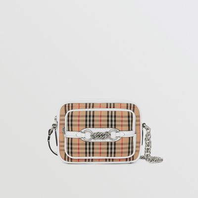 Vintage Check Link Crossbody Camera Bag - White, Chalk White