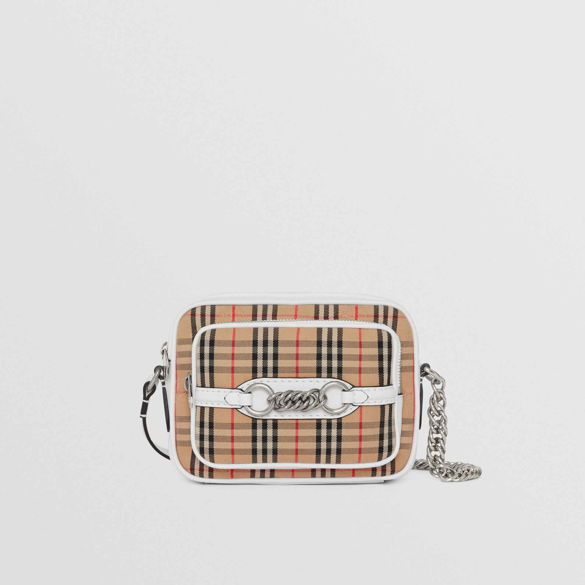 The 1983 Check Link Camera Bag in Chalk White - Women | Burberry - gallery image 0