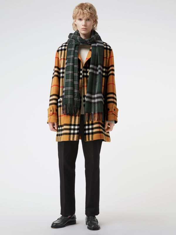 Gosha x Burberry Check Cashmere Double Scarf in Dark Forest Green | Burberry - cell image 3