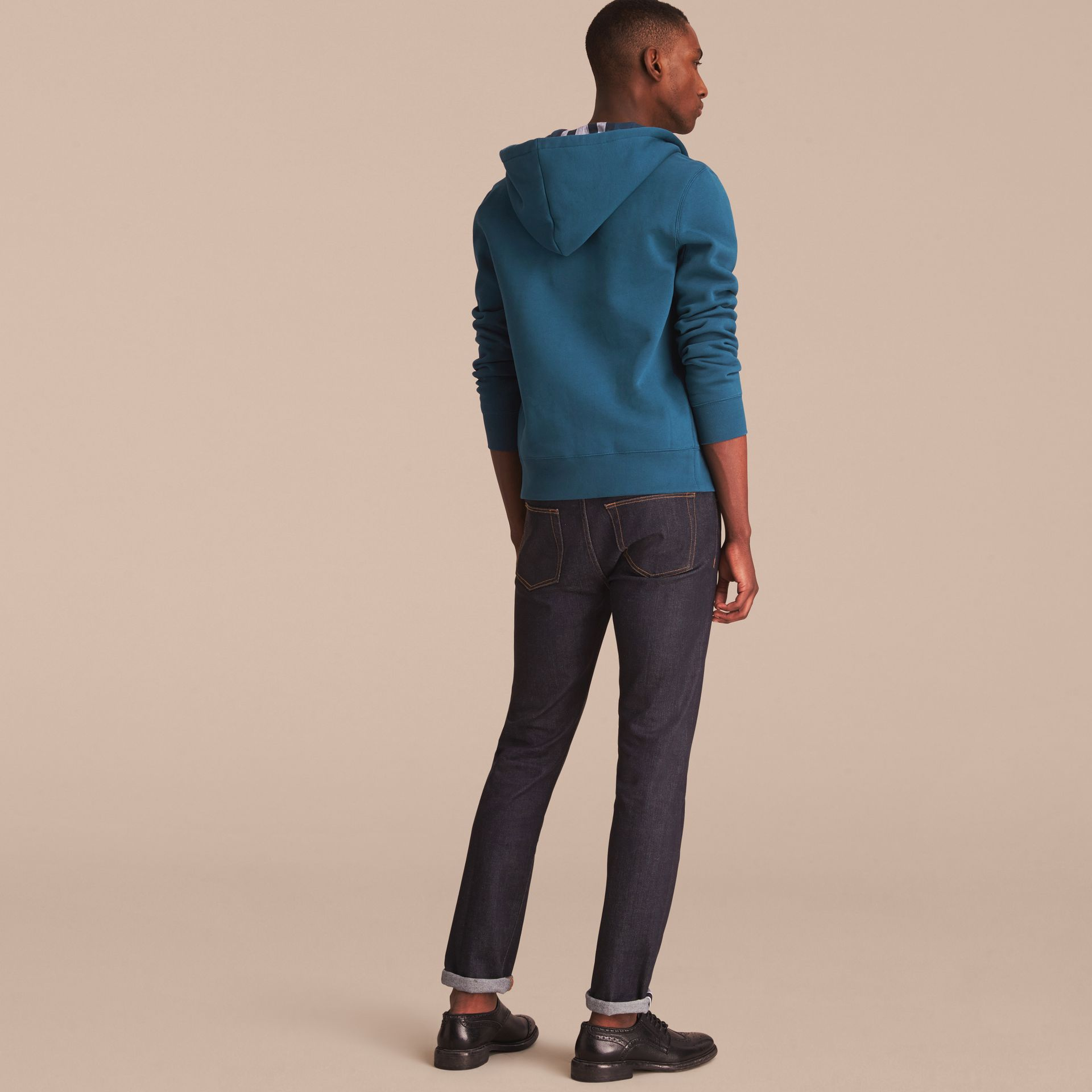 Hooded Cotton Jersey Top in Mineral Blue - Men | Burberry - gallery image 3