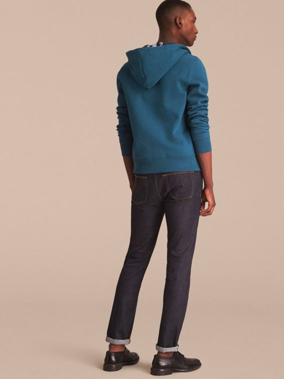 Hooded Cotton Jersey Top in Mineral Blue - Men | Burberry - cell image 2