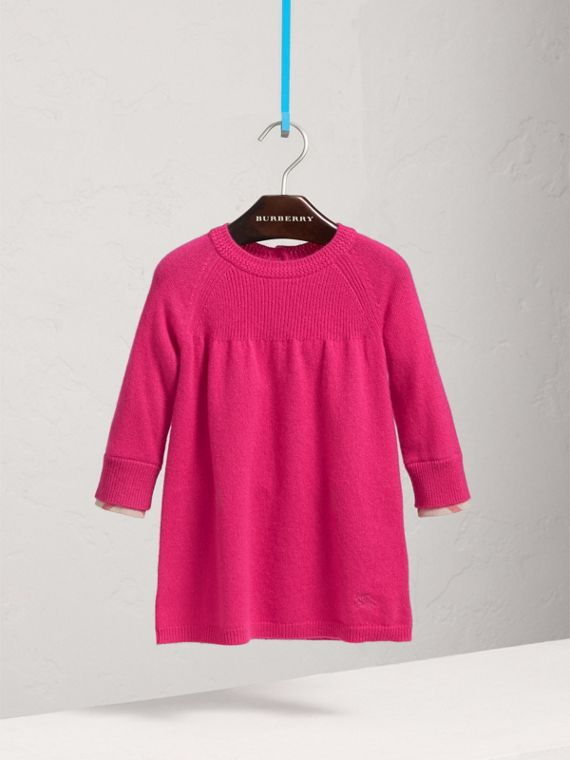 Check Cuff Knitted Cashmere Dress in Bright Crimson Pink
