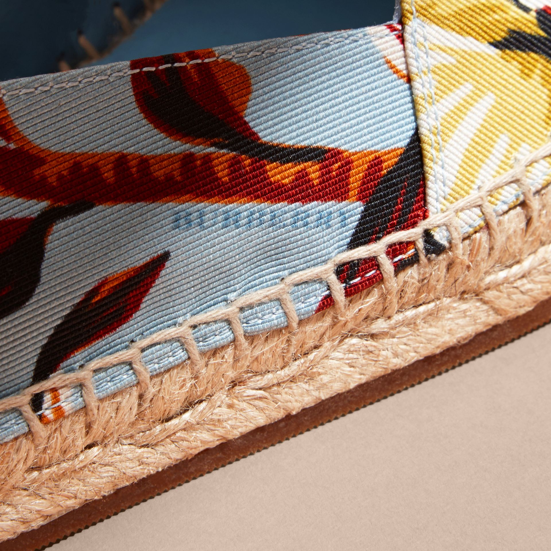 Peony Rose Print Canvas Espadrilles in Vibrant Orange | Burberry United States - gallery image 1