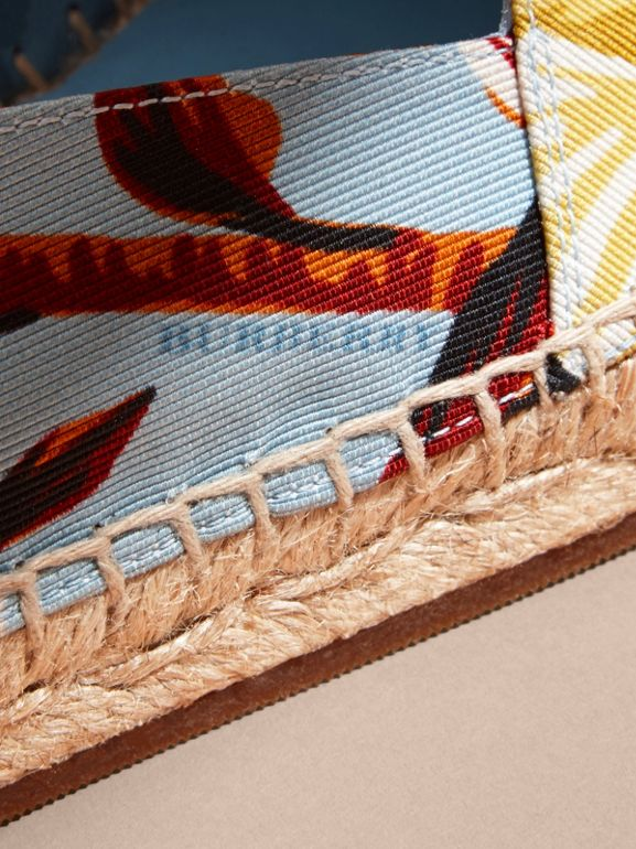 Peony Rose Print Canvas Espadrilles in Vibrant Orange | Burberry United States - cell image 1