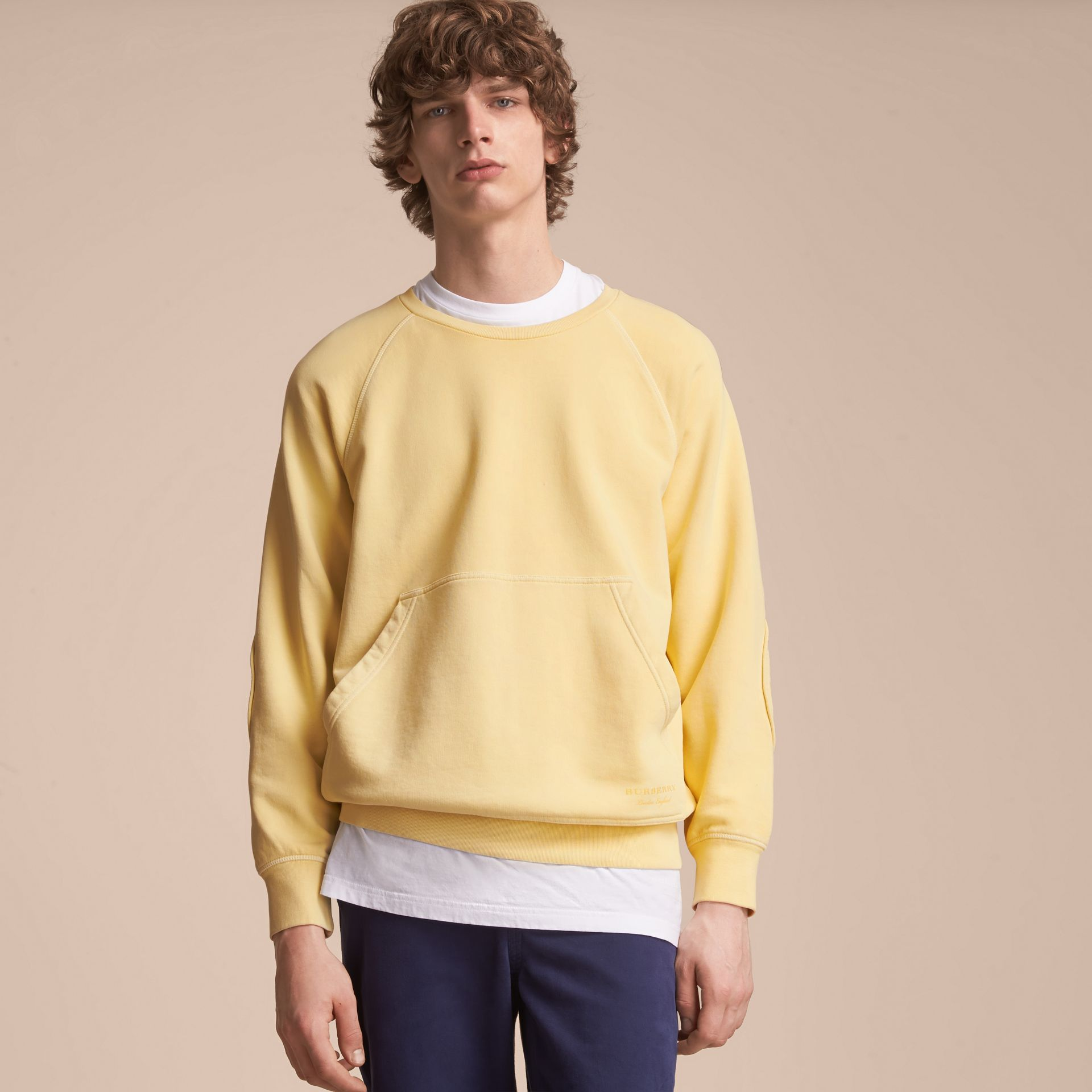 Unisex Pigment-dyed Cotton Oversize Sweatshirt in Pale Yellow - Men | Burberry - gallery image 5