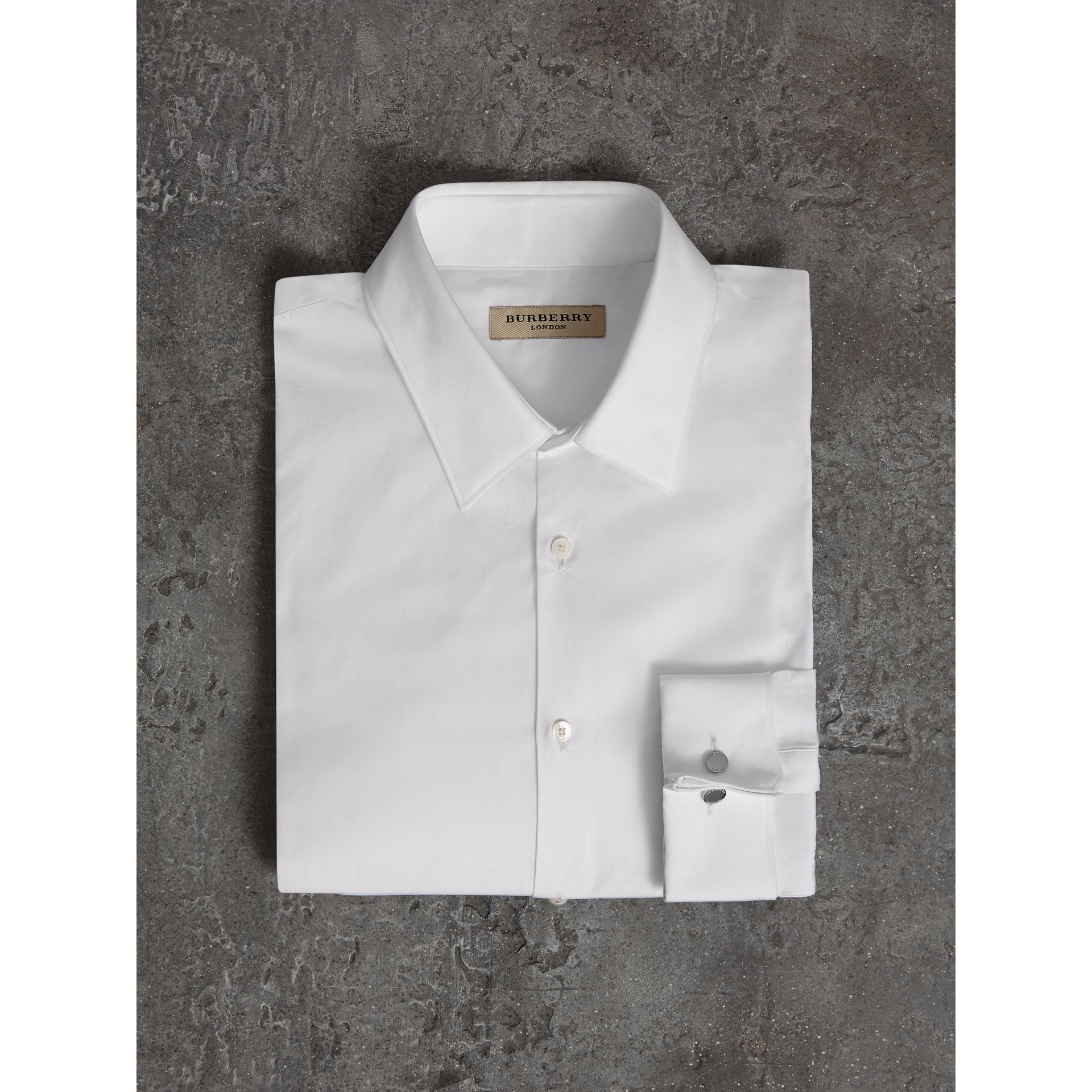 Slim Fit Double-cuff Cotton Poplin Shirt in White - Men | Burberry - gallery image 4
