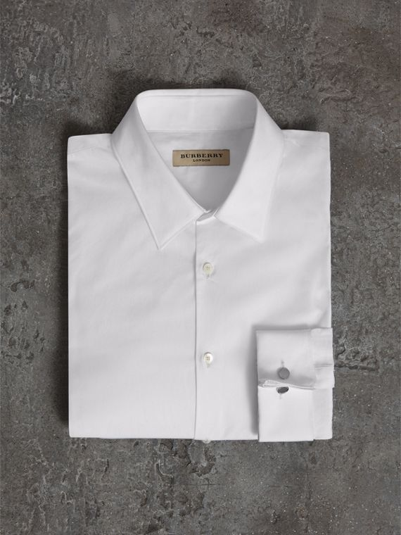 Slim Fit Double-cuff Cotton Poplin Shirt in White - Men | Burberry United Kingdom - cell image 3
