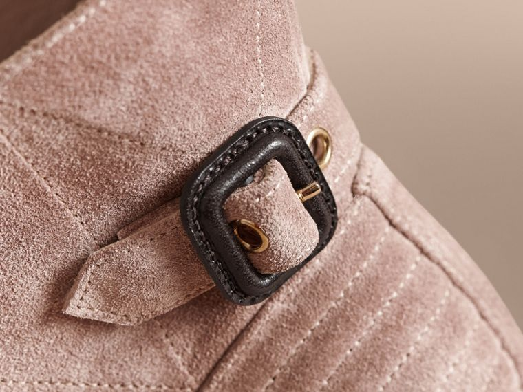 Buckle Detail Suede Peep-toe Ankle Boots in Ivory Pink - Women | Burberry - cell image 1