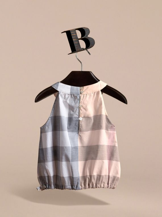 Gathered Check Cotton Top in Apricot - Girl | Burberry - cell image 3