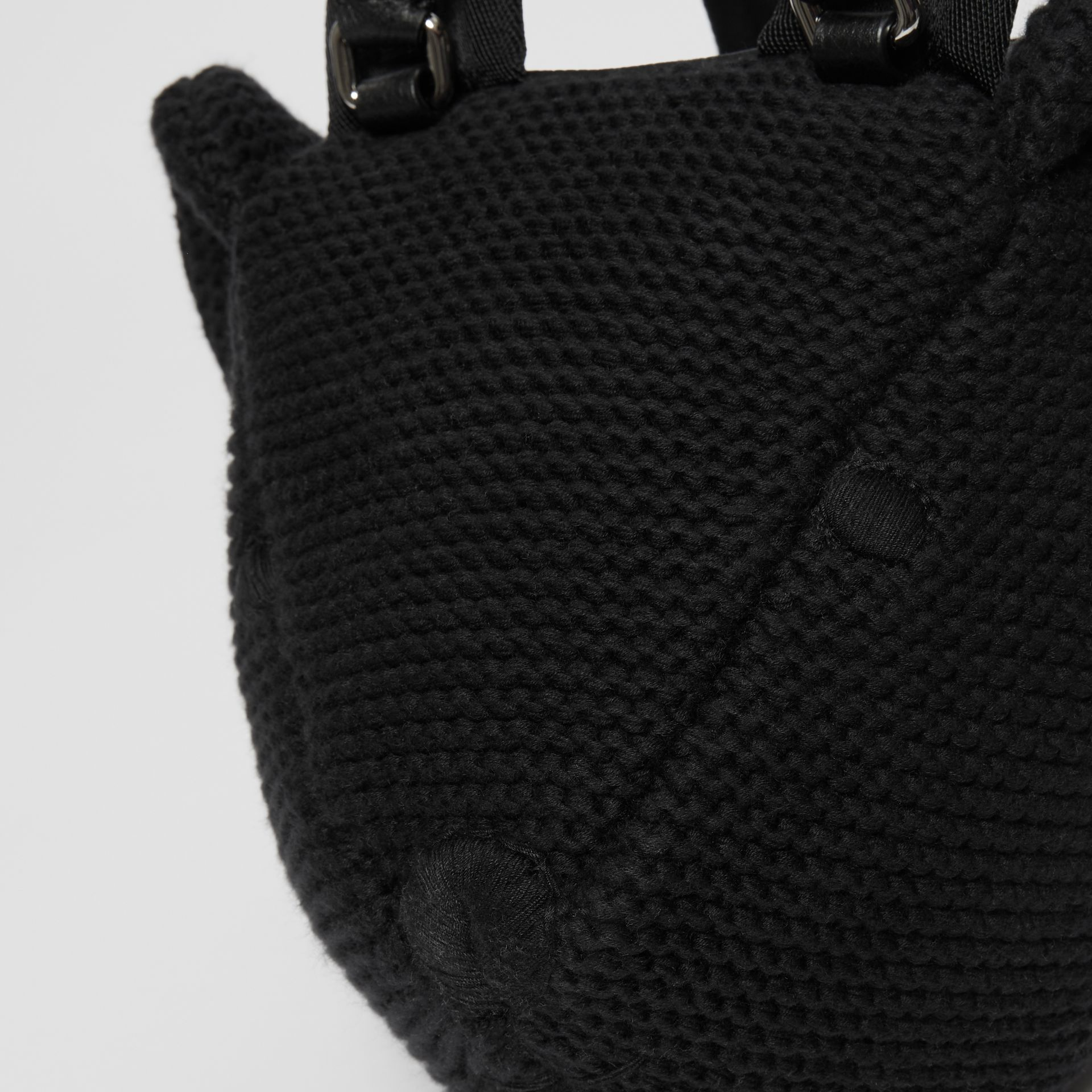 Thomas Bear Knit Cotton Backpack in Black - Children | Burberry Australia - gallery image 7