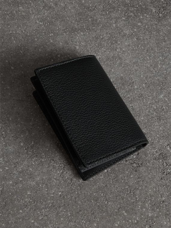 Grainy Leather Folding Card Case in Black | Burberry - cell image 2