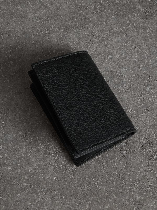 Grainy Leather Folding Card Case in Black | Burberry Australia - cell image 2
