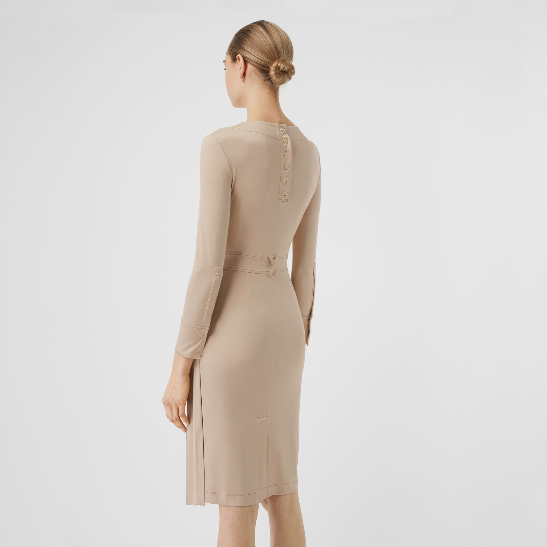 Long-sleeve Pleated Dress in Teddy Beige - Women | Burberry - gallery image 2