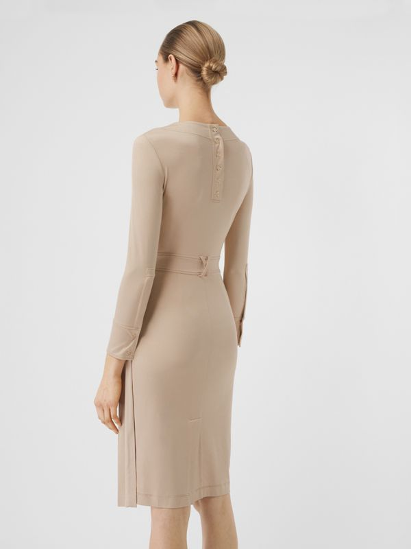 Long-sleeve Pleated Dress in Teddy Beige - Women | Burberry - cell image 2