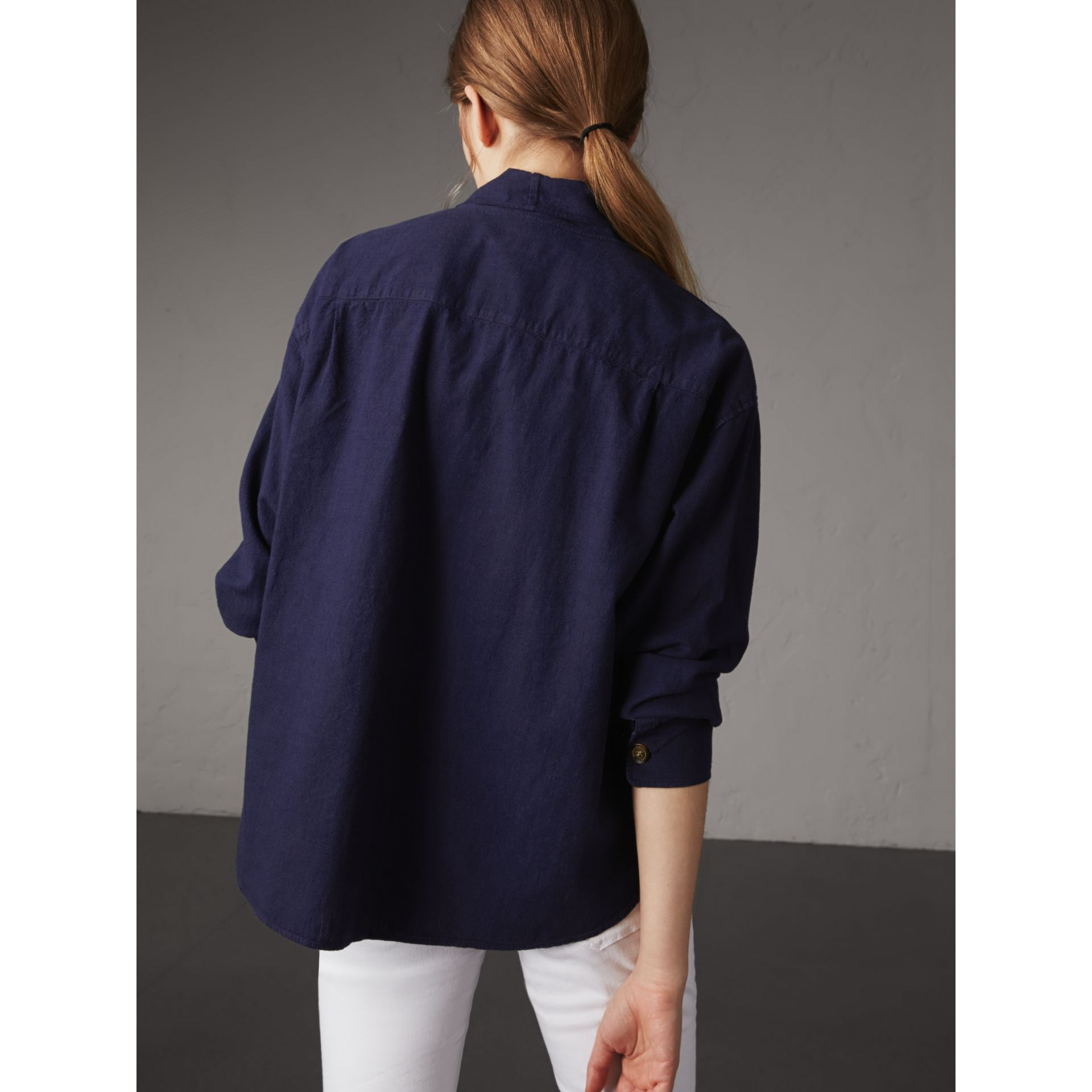 Neck Tie Cotton Chambray Shirt in Dark Indigo - Women | Burberry - gallery image 3