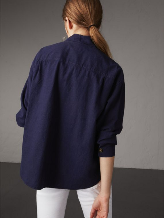 Neck Tie Cotton Chambray Shirt in Dark Indigo - Women | Burberry - cell image 2