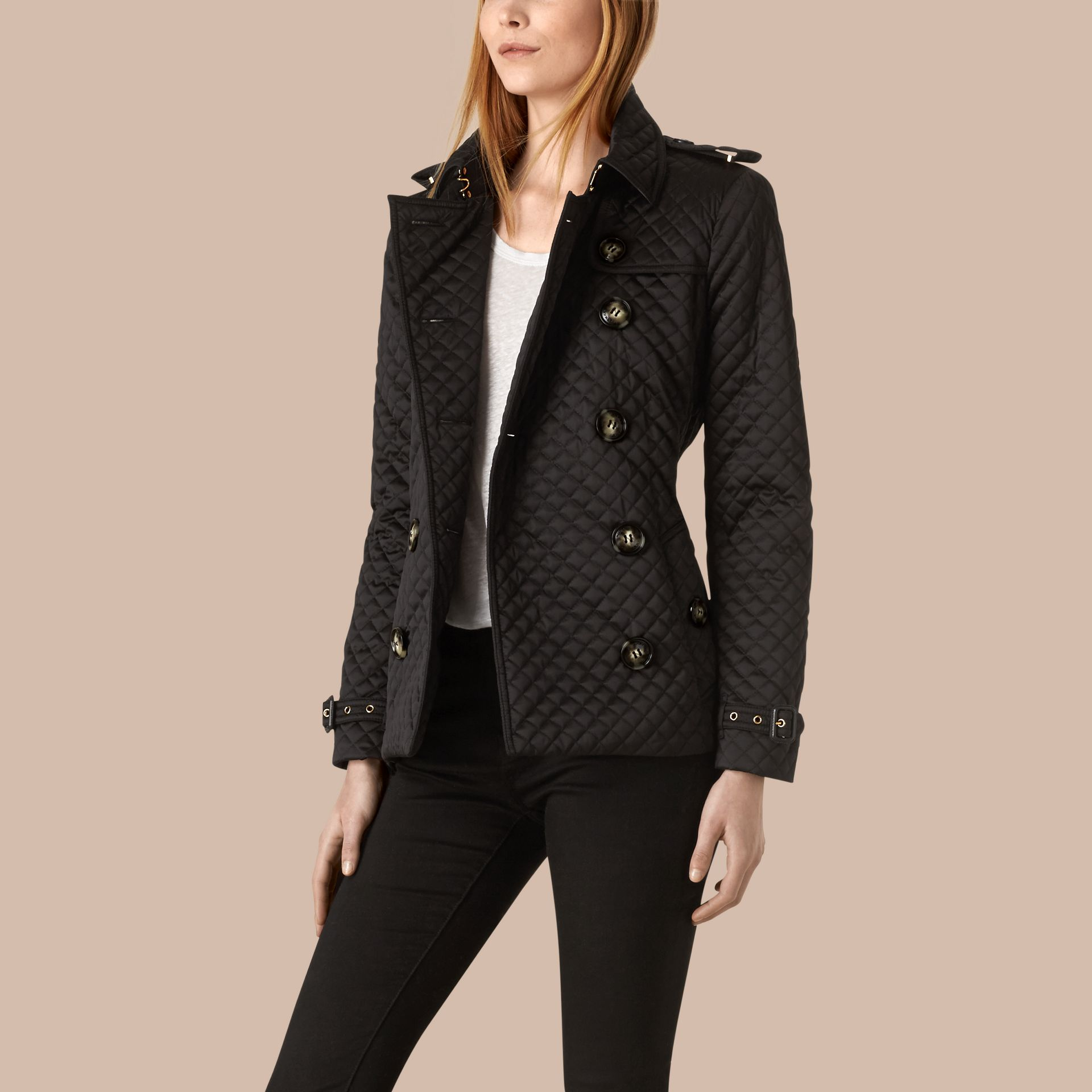 Black Diamond Quilted Trench Jacket - gallery image 3
