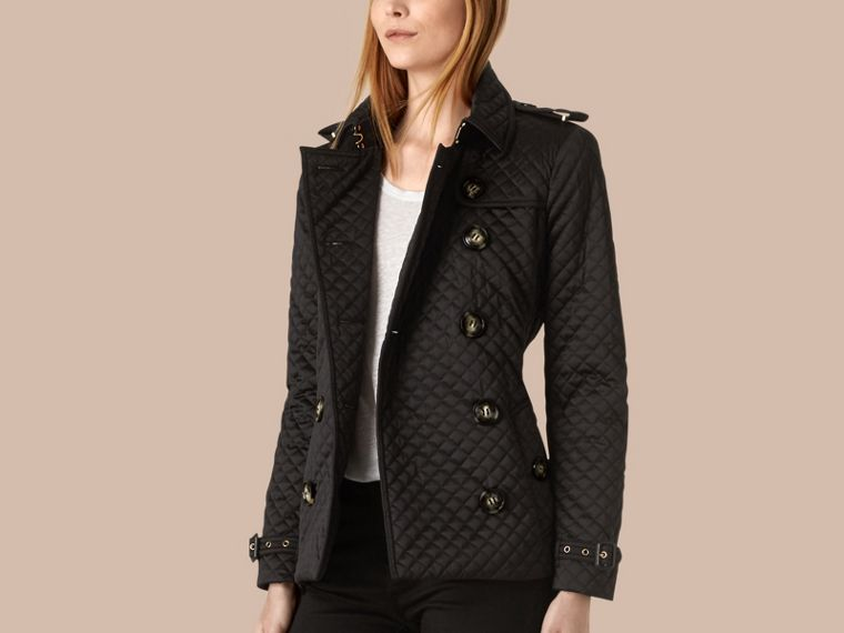 Black Diamond Quilted Trench Jacket - cell image 2