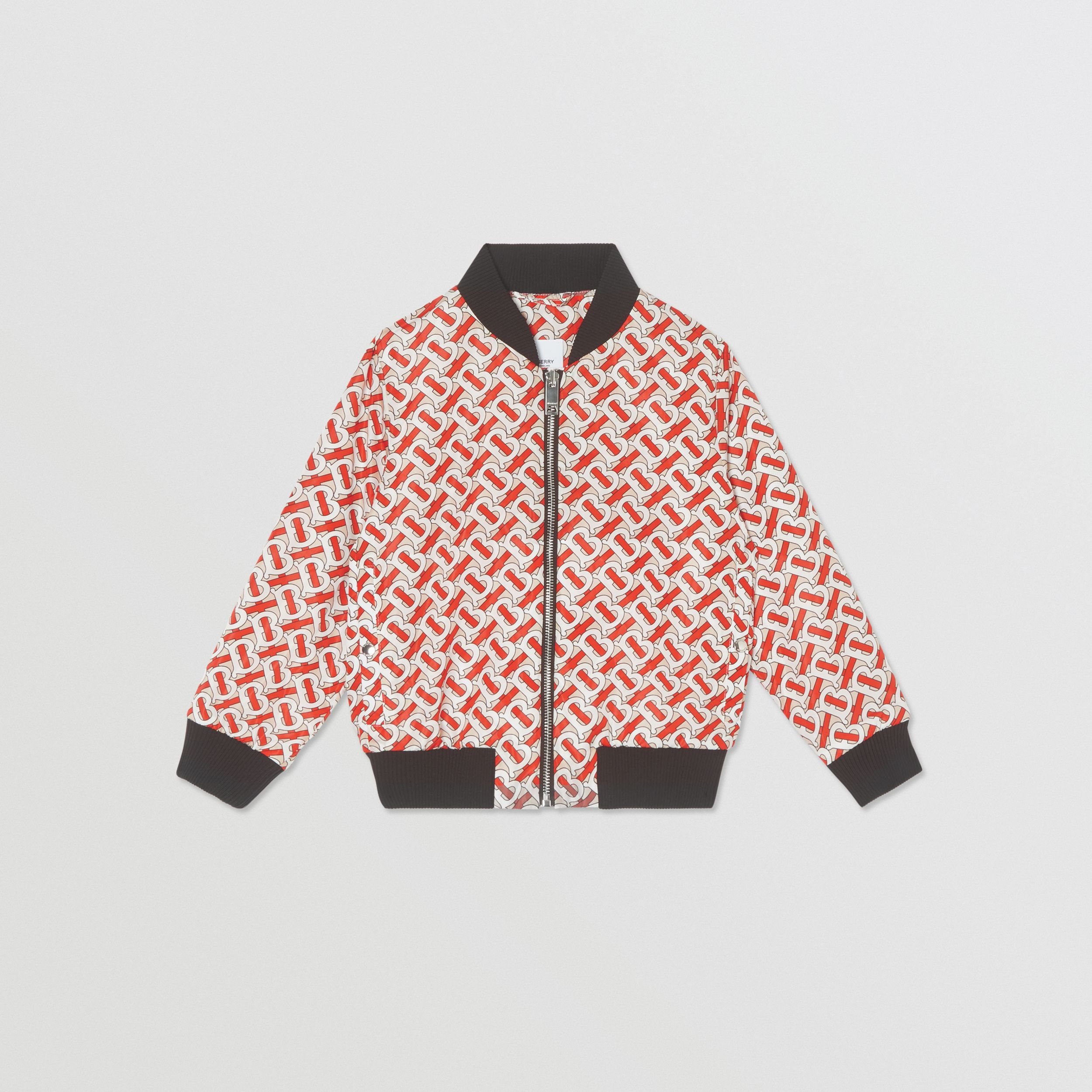 Monogram Print Nylon Bomber Jacket in Vermilion Red | Burberry - 1