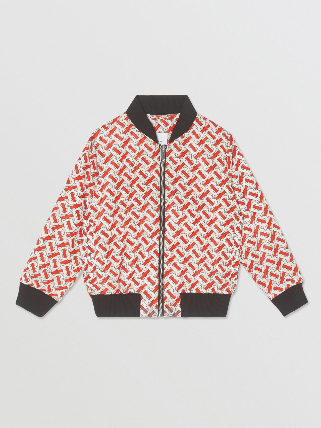 Monogram Print Nylon Bomber Jacket in Vermilion Red
