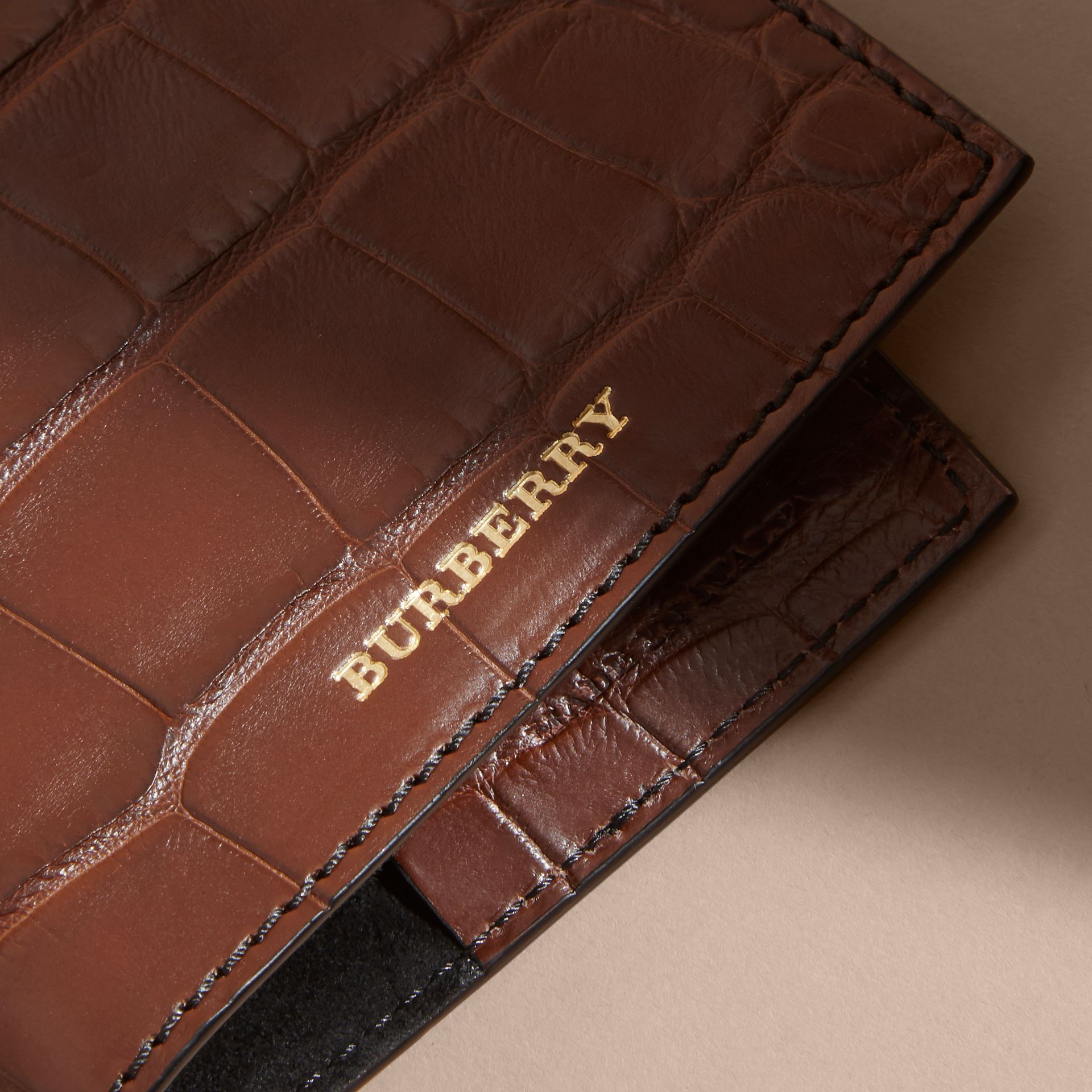 Alligator Passport Holder in Flax Brown | Burberry - gallery image 2