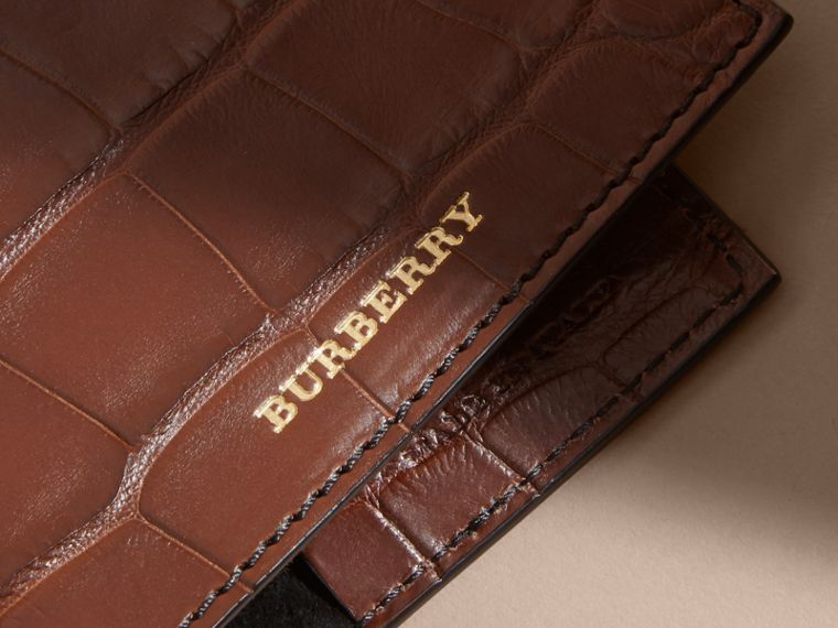 Alligator Passport Holder in Flax Brown | Burberry - cell image 1