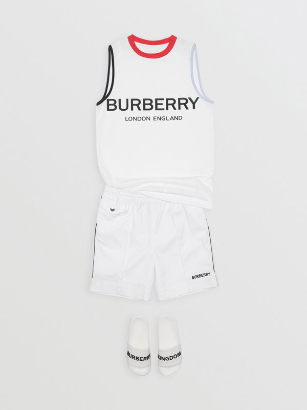 Logo Print Mesh Vest in White | Burberry - cell image 2