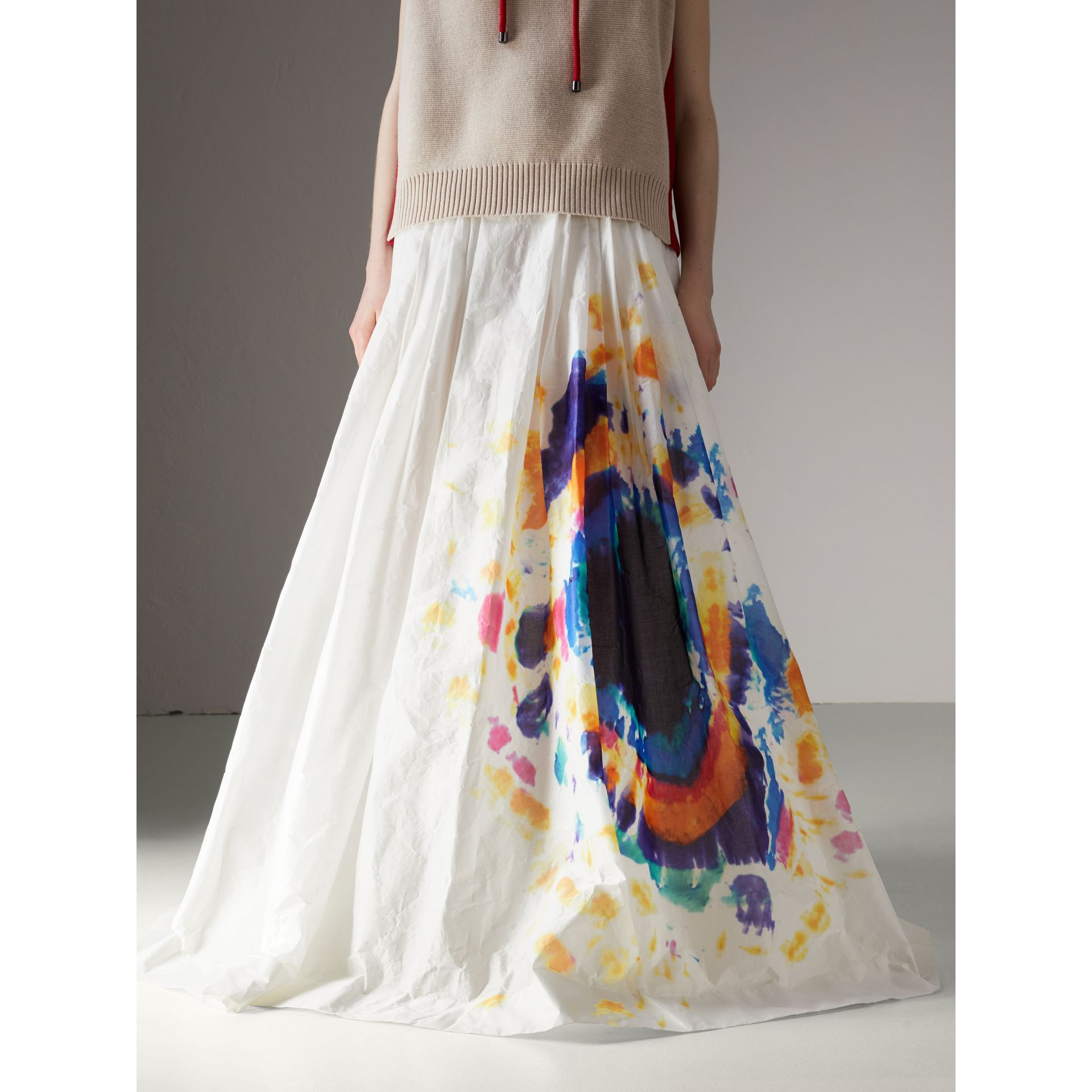 Tie-dye Print Maxi Skirt in Multi-bright Blue - Women | Burberry United States - gallery image 4