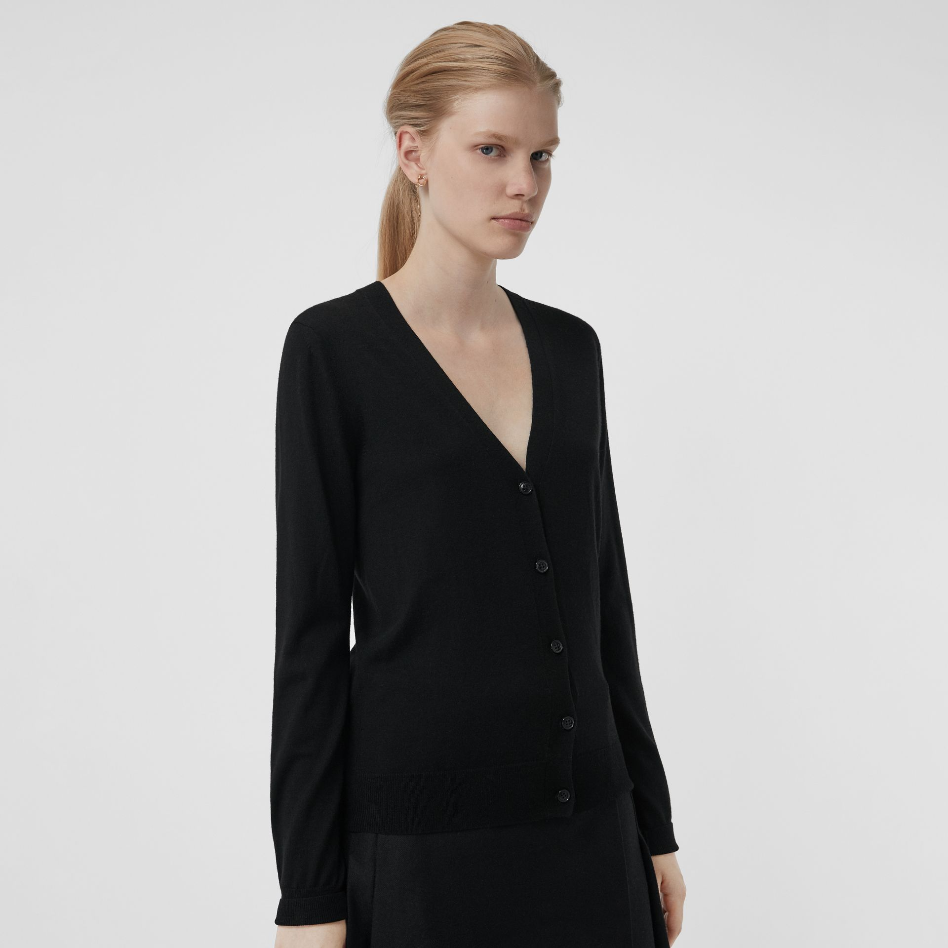 Check Detail Merino Wool Cardigan in Black - Women | Burberry Singapore - gallery image 4