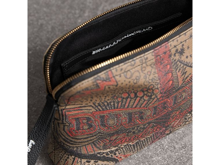 Large Doodle Print Coated Check Canvas Pouch in Classic Check/black - Women | Burberry United Kingdom - cell image 4