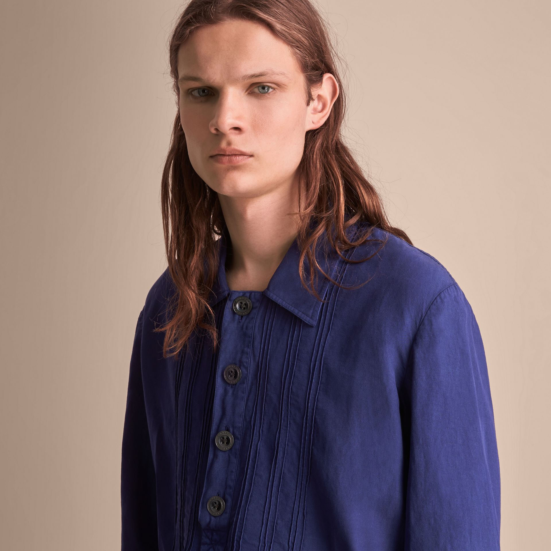 Lyocell Linen Cotton Smock Shirt in Dark Blue - Men | Burberry - gallery image 5