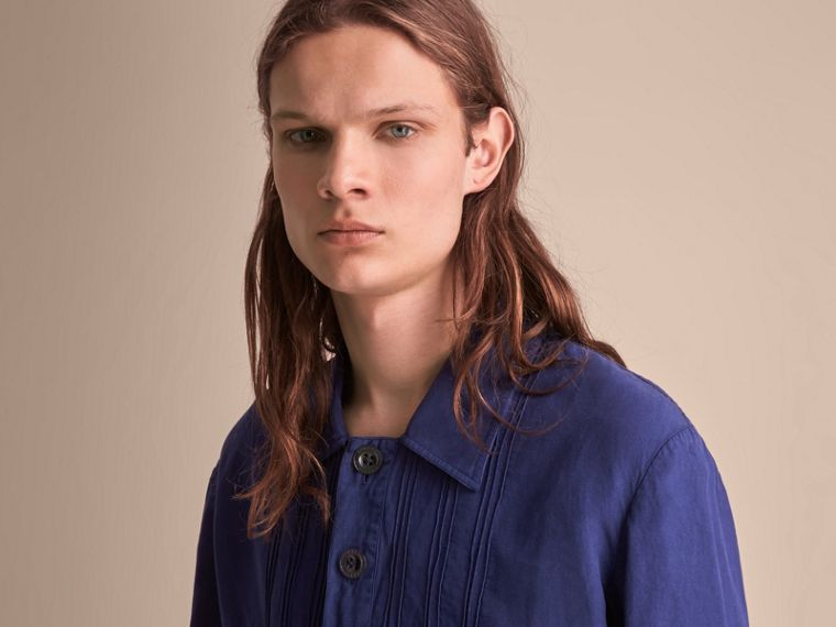 Lyocell Linen Cotton Smock Shirt in Dark Blue - Men | Burberry - cell image 4